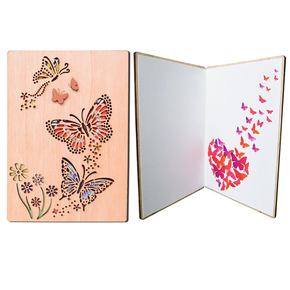 Giftgarden Wooden Openwork Engraving Butterfly Greeting Card Laser Cut Wedding Invitations Free Printable Birthday Cards From