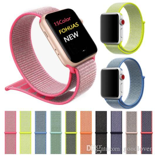 e423cff7c Wholesale Band For Apple Watch Series 4 3 2 1 38MM 42MM Nylon Soft  Breathable Replacement Strap Sport Loop For Iwatch 40MM 44MM Strap Leather  Watches With ...