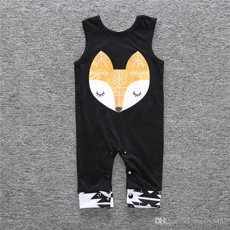 2018 Summer Newborn Jumpsuit Kids Baby Rompers Cotton Infant Boy Girl Fox Romper Summer Baby Sleeveless Clothes