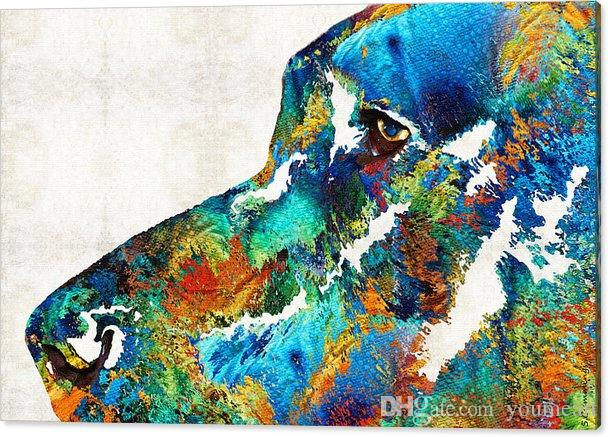 Giclee the urge to merge colorful-dog-art-loving-eyes-by oil painting arts and canvas wall decoration art Oil Painting on Canvas