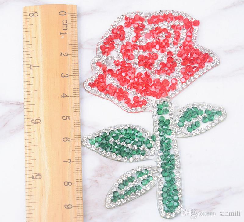 flower motif rhinestone leaves feather embroidered patch iron on sewing crystal applique for T-shirt jeans clothes decoration