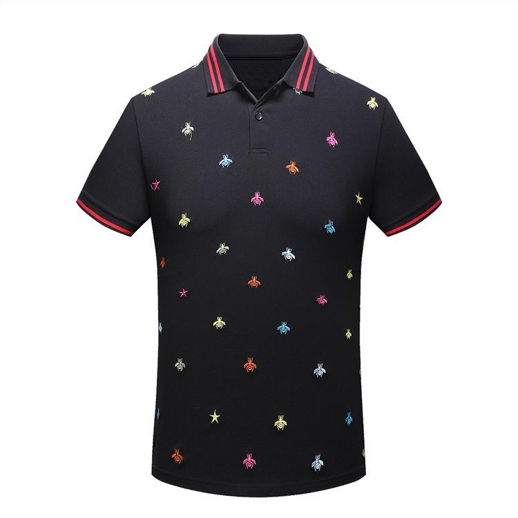 High New 2018 Men High Embroidered Color Bees Striped Collar Polo Shirts Shirt Hip Hop Skateboard Cotton Polos Top M-3XL #G12