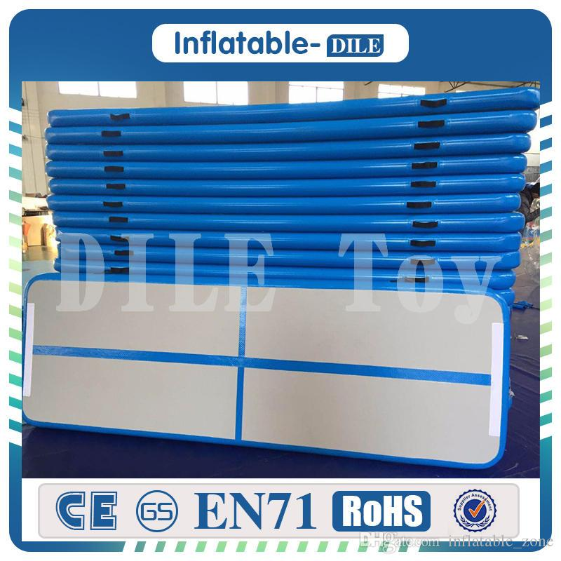 300x90x10cm Blue Inflatable Air Track Floor Home Gymnastic Cheerleading Tumbling Mat Gym Air Mat With One Pump