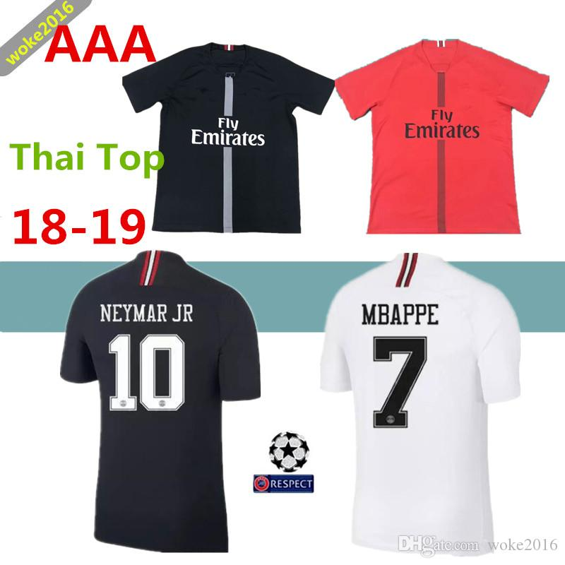 18 19 Psg Jersey 7 Mbappe Black And White Champions League Maillot De Foot  2018 VERRATTI 9 CAVANI CHOUPO-MOTING Home Away Red Football Shirt Wholesale  Cheap ... 78db632a2
