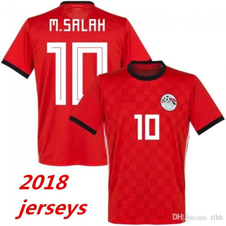 2018 World Cup Egypt Jersey Soccer M. SALAH World Cup Home Red 17 18  KAHRABA National Team Men Short Sleeve Footbal SHIRT Maillot De Foo Egypt  Jersey M. ...