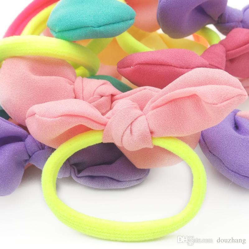 All'ingrosso Ragazze Headwear Bow Fasce elastiche capelli Gum Rabbit Ears Accessori capelli Ponytail Holder Elastici Corde