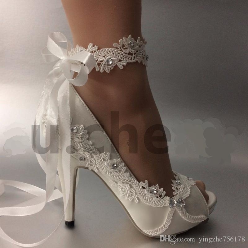 Kadın Düğün ayakkabı Fildişi Kurdele gelin gelinlik Han baskı elmas dantel manuel düğün Kama Peep Toe ayakkabı kadın BOYUTU AB 35-42