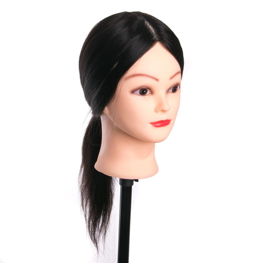 100% Real Human Hair Training Head For Salon Hairdressing Mannequin Dolls Nice 45cm with Free Holder professional styling head
