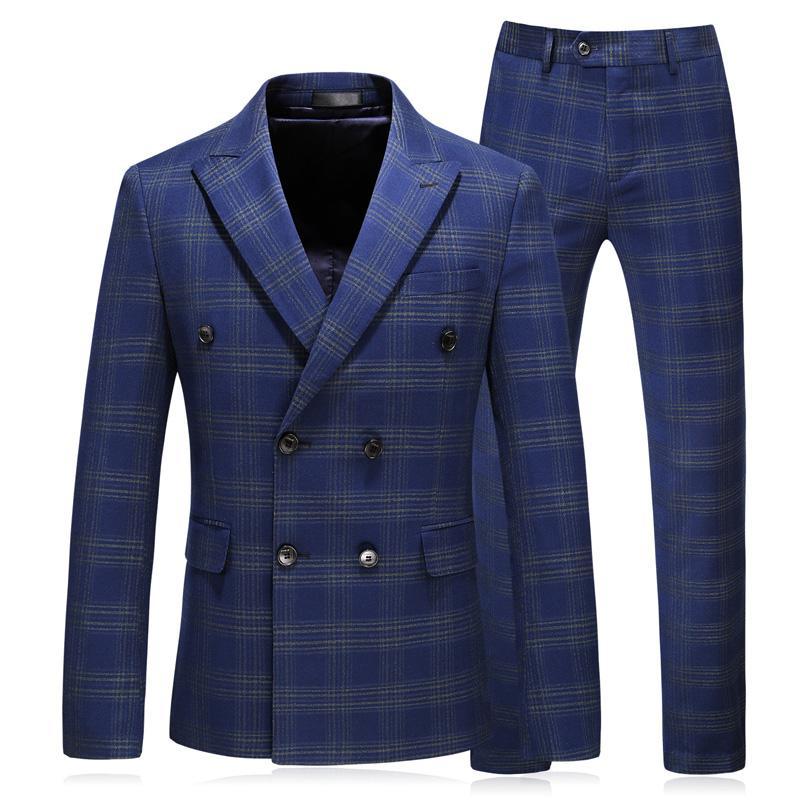 0456c58e4aa4 Compre Nova Marca Homens Ternos Xadrez Azul Blazers Slim Fit Grande Tamanho  Terno Do Casamento Do Negócio Masculino Smoking Ternos Do Noivo Outono /  Inverno ...