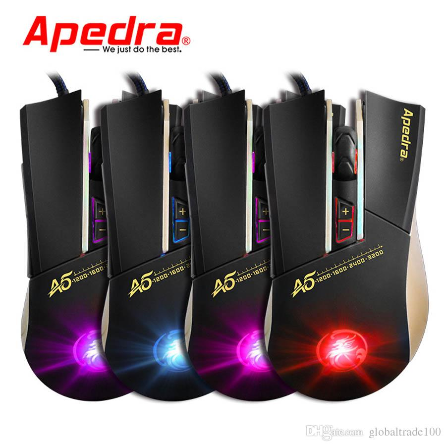 Apedra A5 New USB Wired Computer Mouse 3200DPI Macro Program Optical Gaming Mouse Gamer Cable Mice for PC Laptop Game LOL CSGO Dota