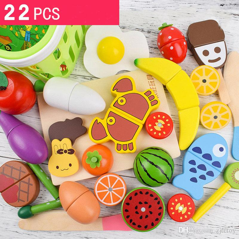 e76b896a5bd 2019 Wooden Magnetic Kitchen Toys Pretend Play Cutting Food Sets Simulation  Vegetables Fruits Educational Toy Play House From Zjtctoy