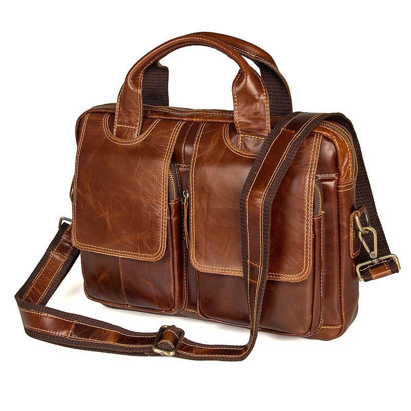 974660ac5ff2d Nesitu Vintage Brown Genuine Leather Men Messenger Bags Shoulder Bag Real  Skin Male Portfolio A4 Office Briefcase M7378 Briefcases Cheap Briefcases  Nesitu ...