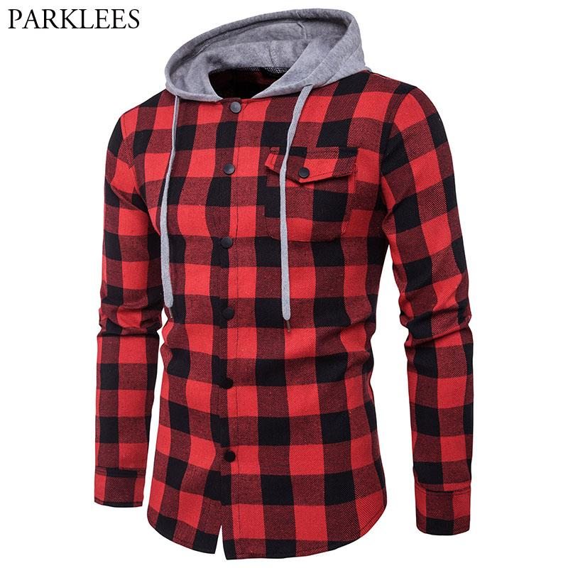 Red Black Plaid Hooded Shirt Men Long Sleeve Slim Fit Casual Checkered Hoodies Shirts Mens Pocket Button Front Chemise Homme 2XL