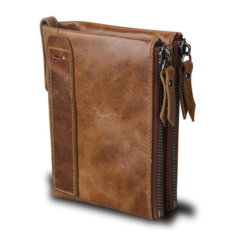 9b85f7747adb Crazy Horse Genuine Leather Men Wallets Credit Business Card Holders Double  Zipper Cowhide Leather Wallet Purse Carteira S923 Online with  21.56 Piece  on ...