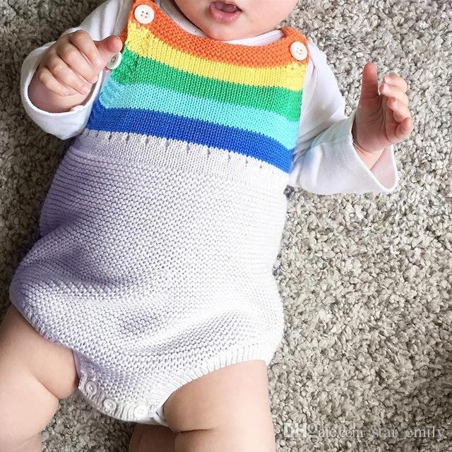 New Summer Baby Rompers Clothing Sport suit Rainbow Color Vestidos Swimsuits Baby Boy Clothes 100% Cotton Rompers for Girls Skirts 341