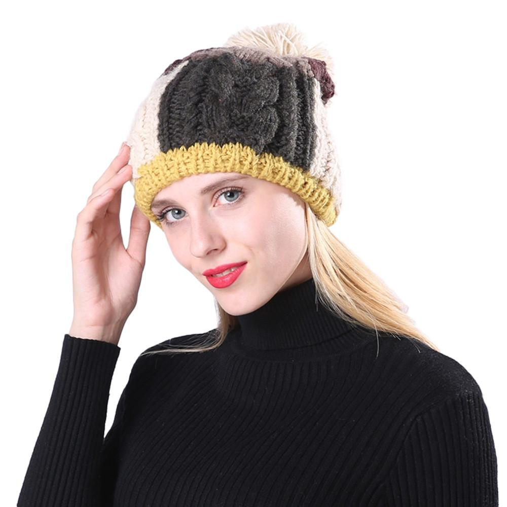 6cc912fb JAYCOSIN Womens Hats Cable Knitted Pom Wooly Cap Bobble Hat Plain Mens Womens  Beanie Warm Winter Dropshiping 18OCT12 Skullies & Beanies Cheap Skullies ...