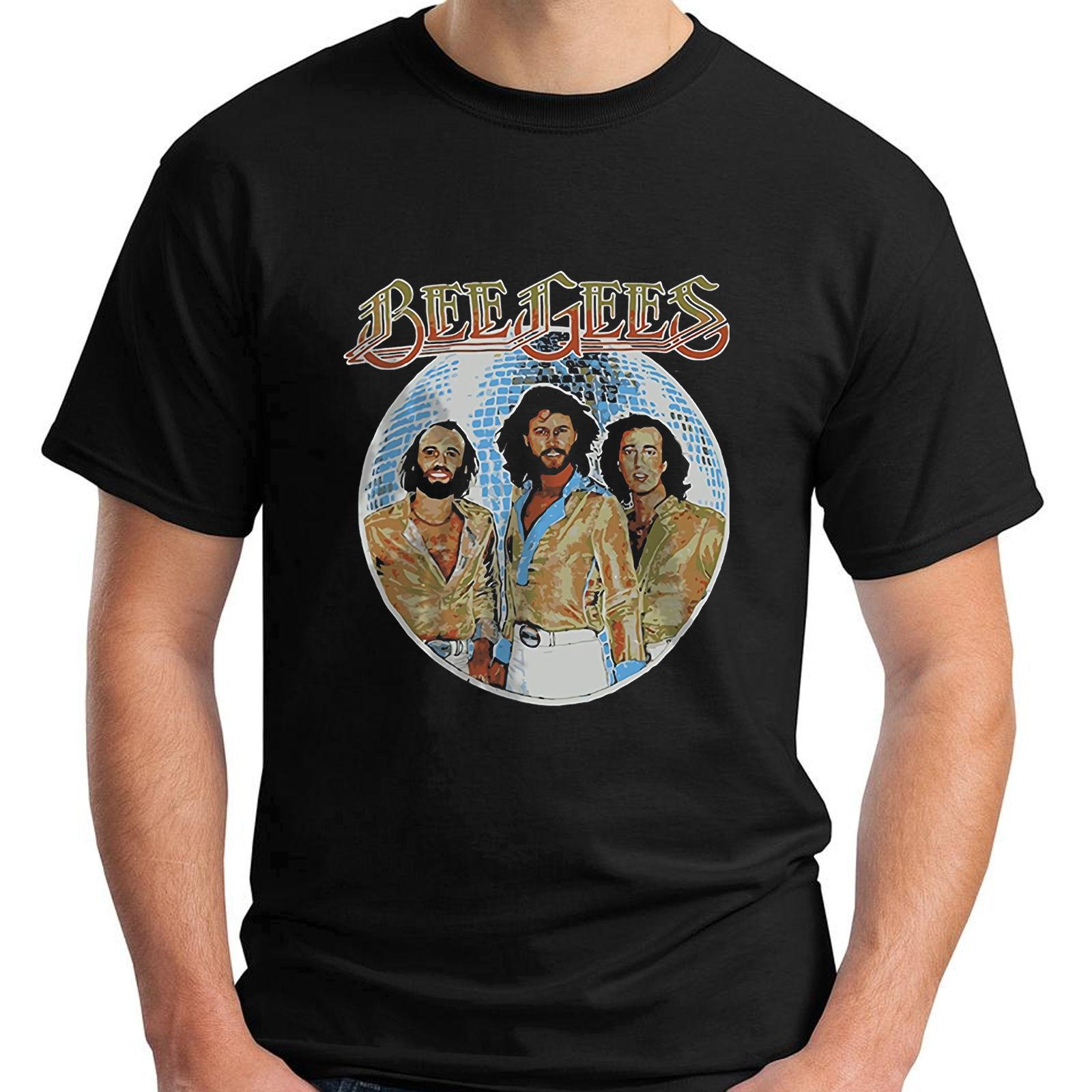 Grosshandel New Bee Gees Disco Ball Kurzarm Schwarz Herren T Shirt