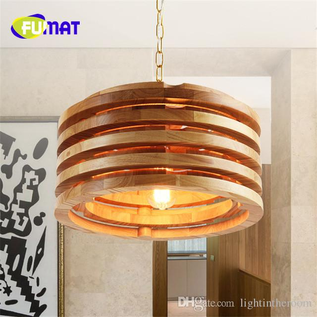 Fumat Circular Wooden Japanese Solid Wood Pendant Lights Dining Room Simple Cafe Restaurant Lamps Kitchen Pendants Blown Glass