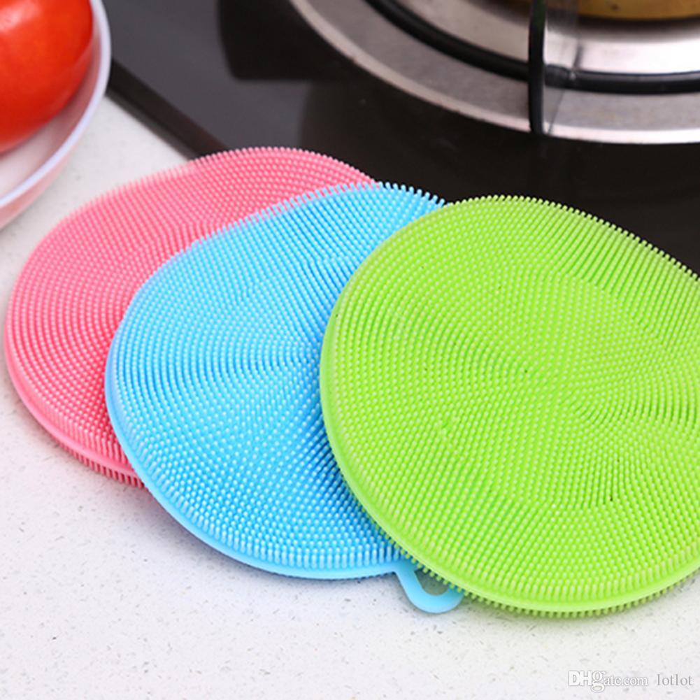 Escova De Limpeza Da bacia Tigela de Silicone Escovas de Limpeza Do Prato Pote De Cozinha Ferramenta de Lavagem de Cozinha Acessórios de Cozinha Escovas Mais Limpas
