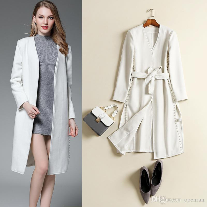 fbfc2821823 High Quality White Long Women Wool Coat with Belt V-neck Long Sleeve ...