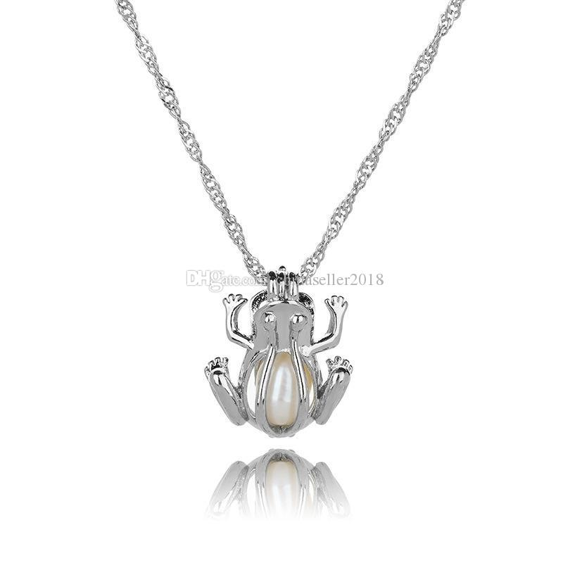 Silver Pearl Cage Pendant Necklace With Oyster Pearl Mix 50 Designs Interchangeable 6-8mm Lava Beads Own Stones Scent Diffuser Locket