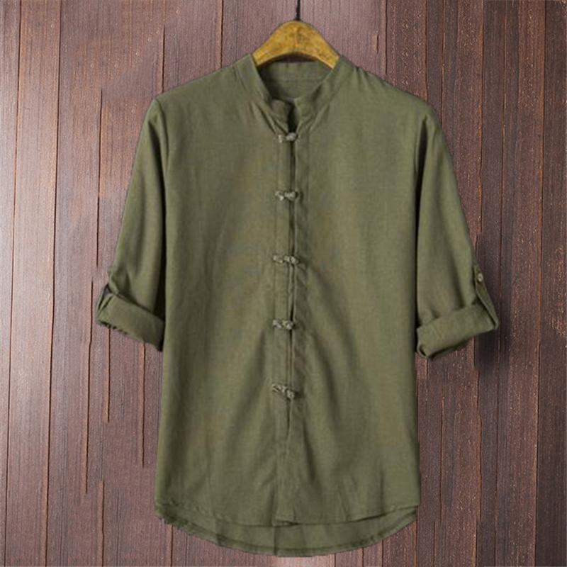 82031ad496 Compre 2018 Plus Size Camisas Chinas Hombres De Algodón De Lino Manga Tres  Cuartos Botón Sólido Tang Trajes Camisa Casual Vintage Thin Chemise A   21.38 Del ...