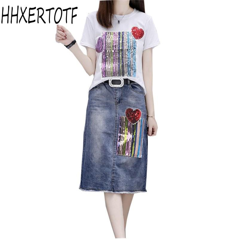52c0492b6 2019 HIGH QUALITY Two Piece Set Sequin Printed Short Sleeved T Shirt+Love  Sequins Denim Skirt Suit From Mingclothes001, $43.14 | DHgate.Com