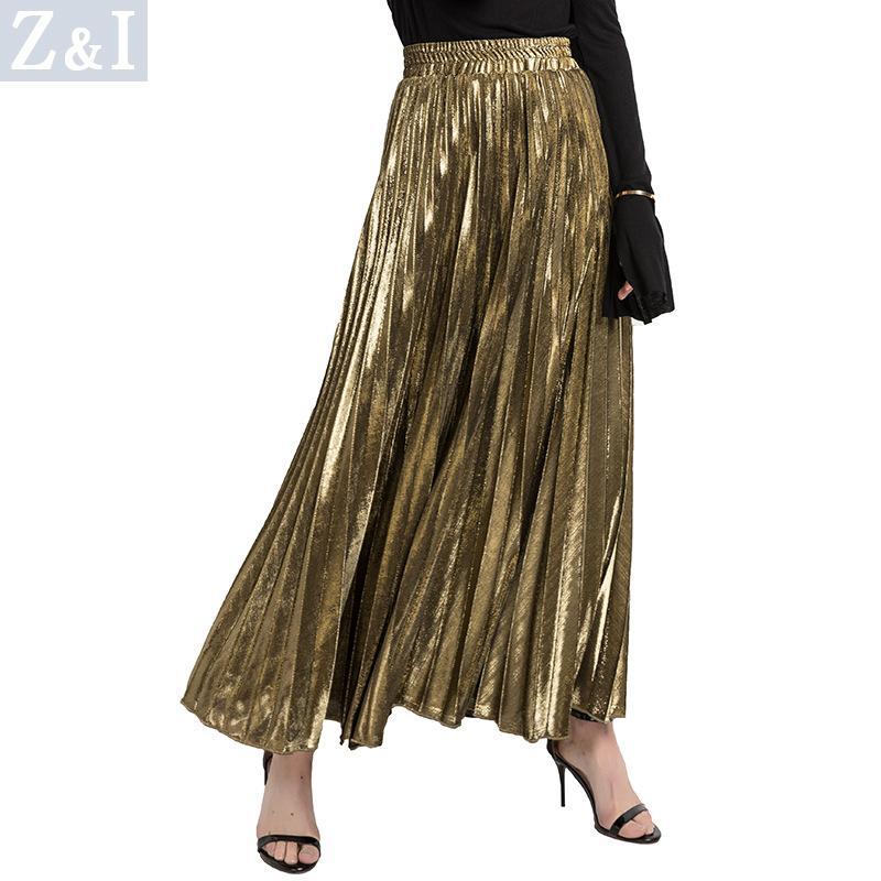 ace73857d905 2018 neue Frauen Metallic Silber Gold Rock Langer Rock Elastische Hohe  Taille Metallic Plissee Party Club Damen Saia Fenimias