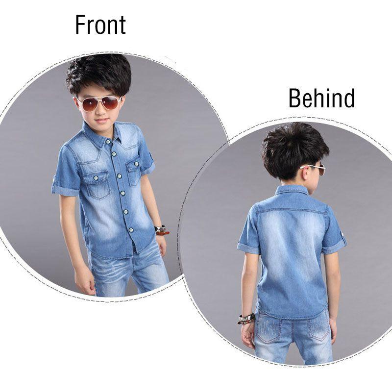 New 2019 Boys Children Summer Short Sleeve Denim T Shirt And Shorts Clothin Sets For Teens Boys School Sports Kids Suits Sets