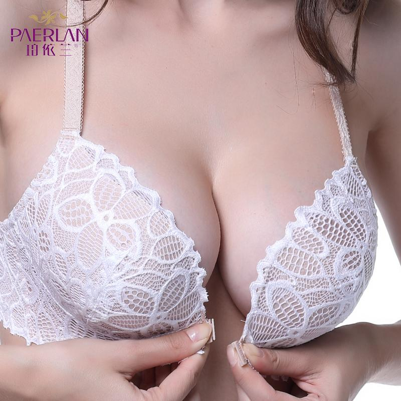 ffac8e948db6e 2019 PAERLAN Front Closure Wire Free Lace Floral Hit Color Seamless Bra  Small Chest Push Up Y Shaped Sexy Back Beauty Underwear Women From  Clothwelldone