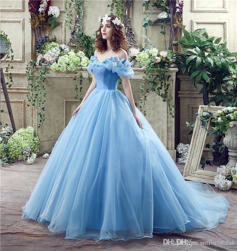 Real Photos Blue Cinderella Princess Wedding Dress Ball Gown Off The ...