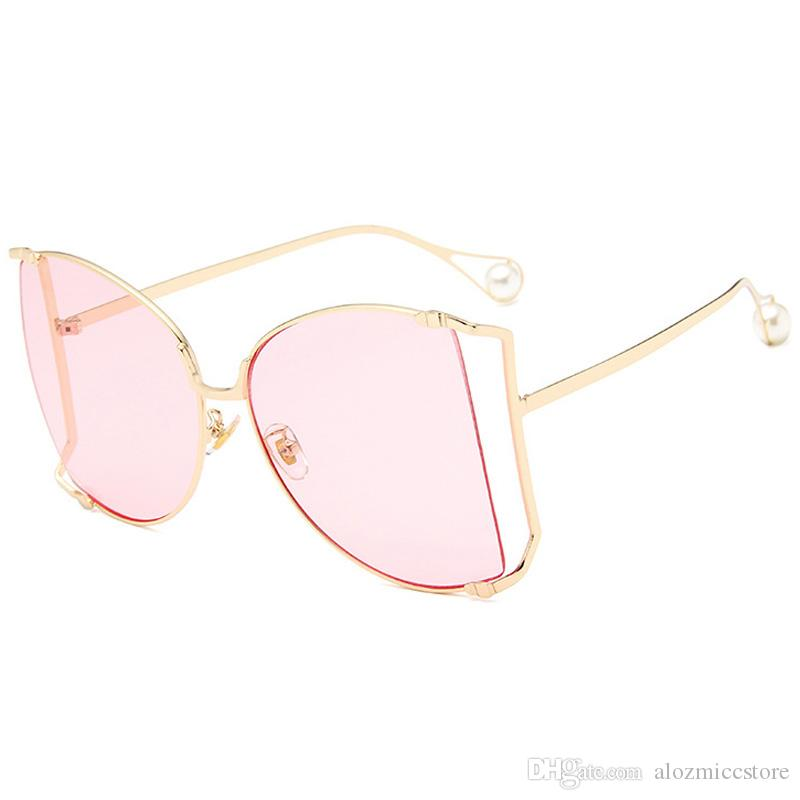 22ec23287c3 2018 Luxury Brand Cat Eye Women Sunglasses Pearl Decoration Legs ...