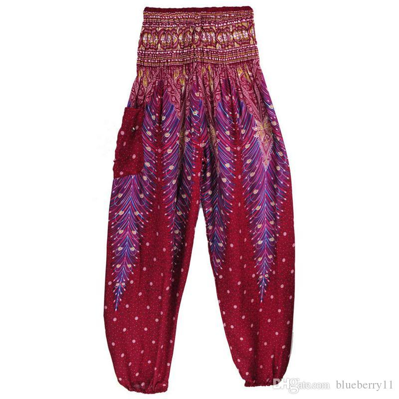 Stampati Pantaloni Peacock Yoga Di Acquista Etnici B8wqOHOg