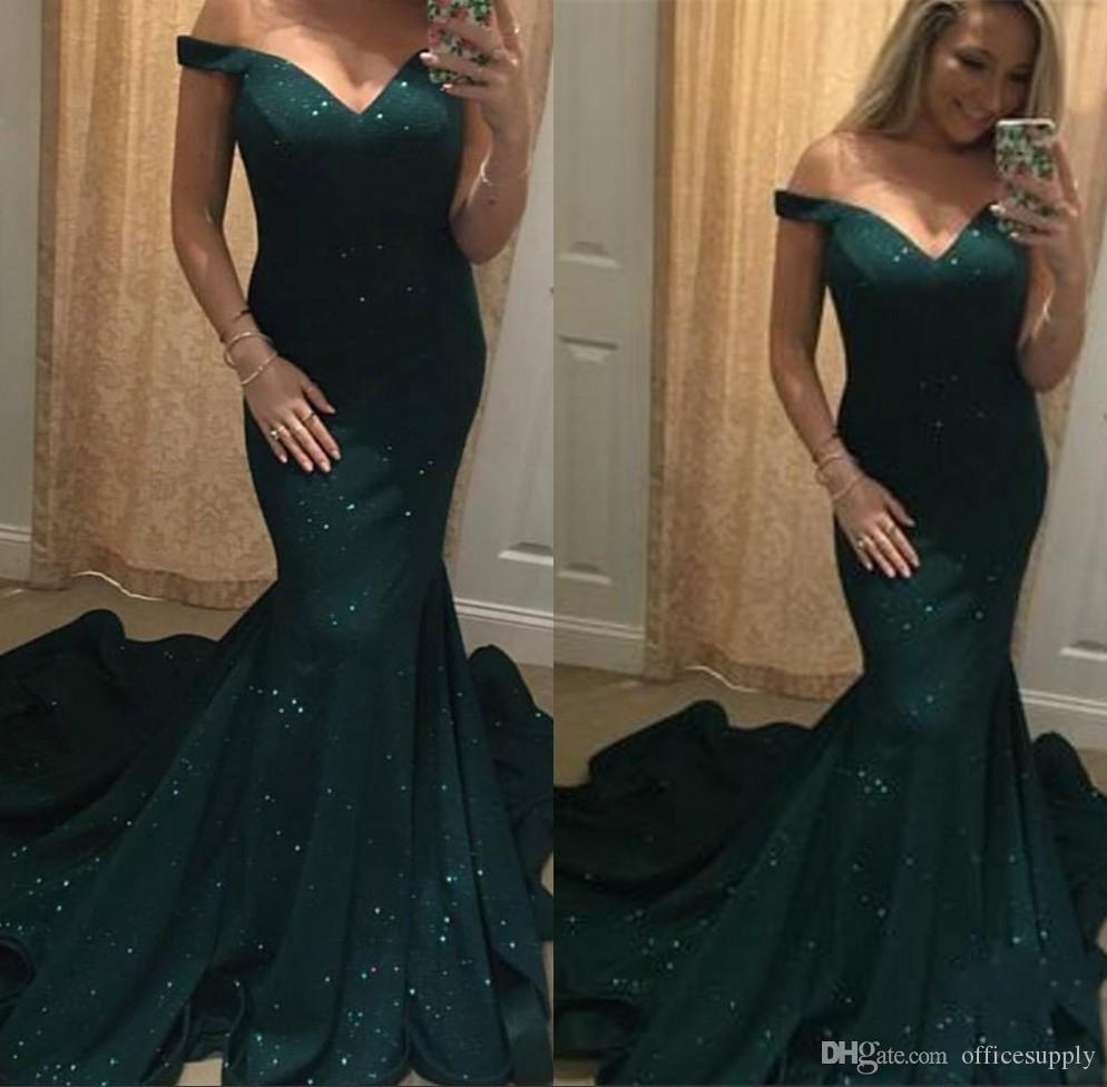 Fantastic Dark Green Lace Mermaid Evening Dresses 2018 Off-the-shoulder Neck Long Sleeve Prom Dress Gowns Formal Dresses Evening Wear