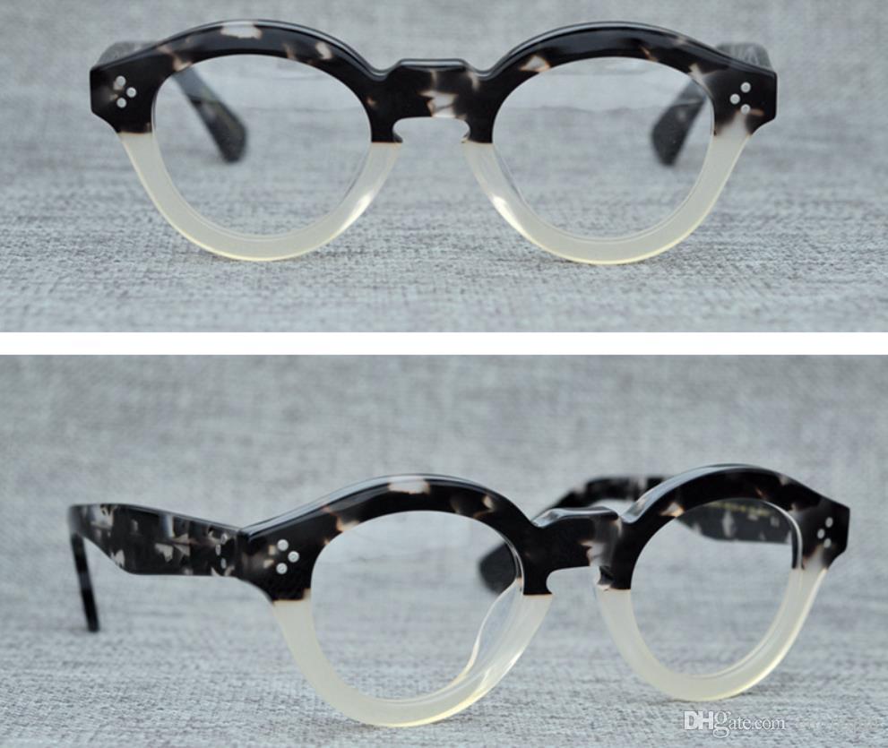 Compre Homens Armações De Óculos Ópticos De Marca Designer De Óculos De  Armação Rodada Do Vintage Para As Mulheres A Máscara Handmade Miopia Óculos  Com Caso ... 004fab3a8b