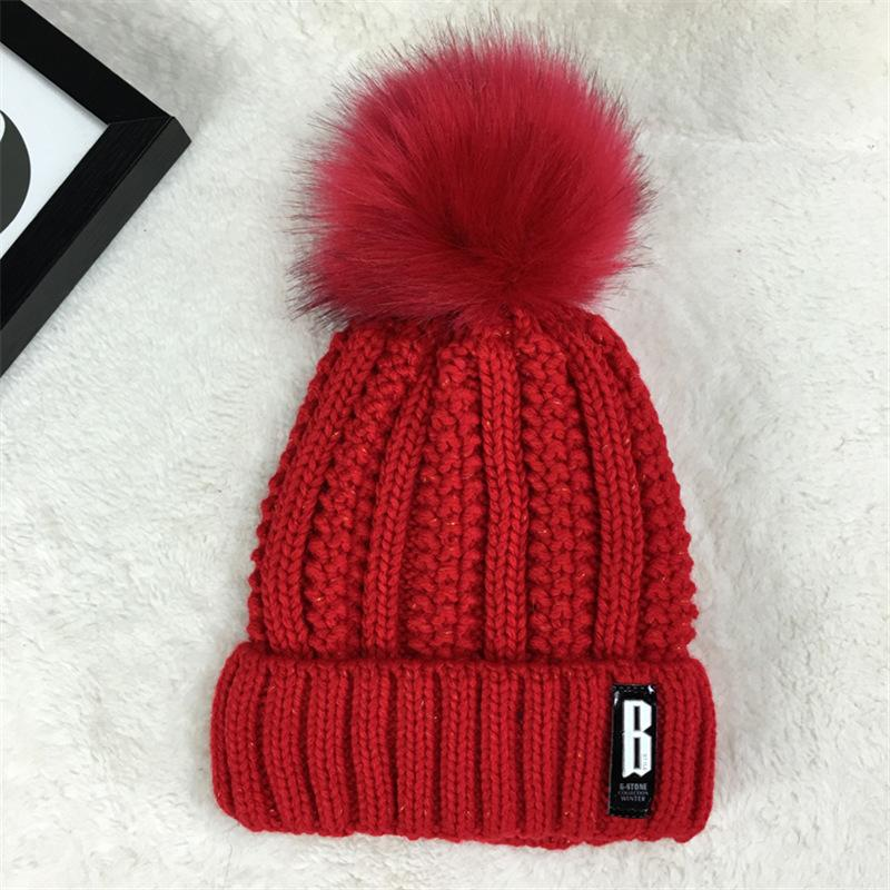 95d2a6962b0 Autumn Female Cap Women S Winter Fur Ball Beanies Hat Knitted Wool Skullies  Casual Cap With Pompom Solid Colors Ski Gorros Thick Y18110503 Knit Beanie  Cap ...