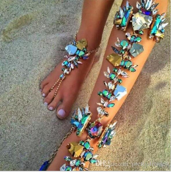Luxurious Bling Bling Crystal Beaded Bridal Anklet Colorful Retro Ankle Bracelet For Beach Vacation Sandals Sexy Leg Chain Female Cheap