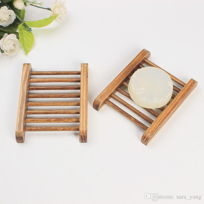 Fast shipping Dark Wood Soap Dish Wooden Soap Tray Holder Storage Soap Rack Plate Box Container for Bath Shower Plate Bathroom
