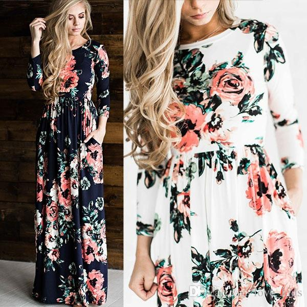 Fashion Summer Europe and America New Women full-length Party dresses round-neck long sleeve long foral dress top quality
