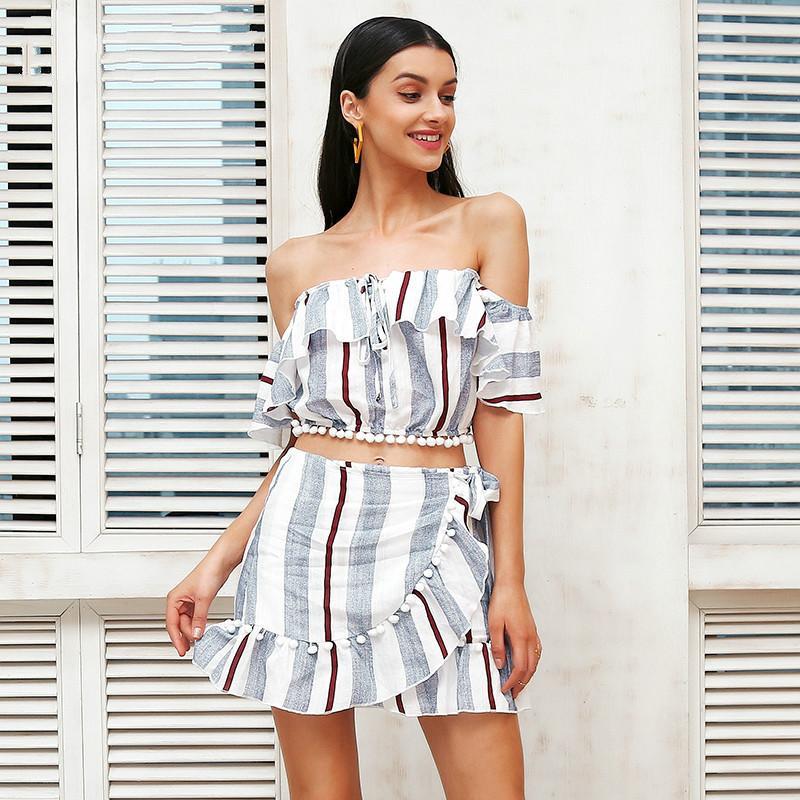 2019 Off Shoulder Lace Up Two Piece Dress Suit Women Cropped Stripe