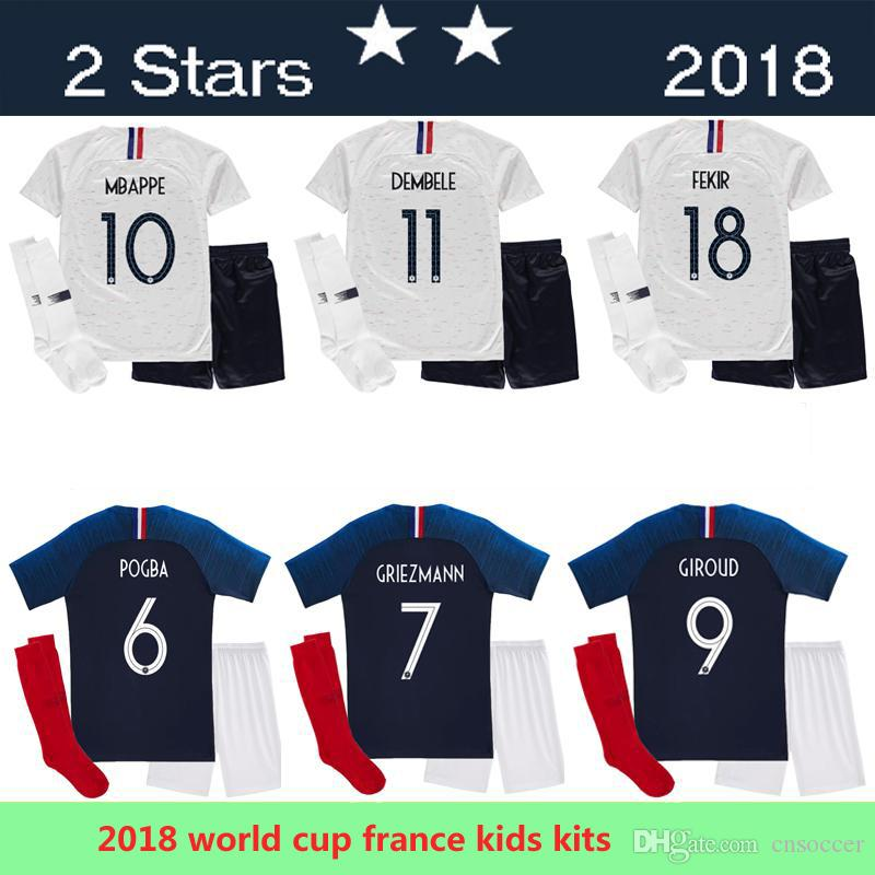 9b7627d1886 Two Stars Fr 2018 World Cup Pogba Kids Kit Home BLUE 18 19 PAYET ...