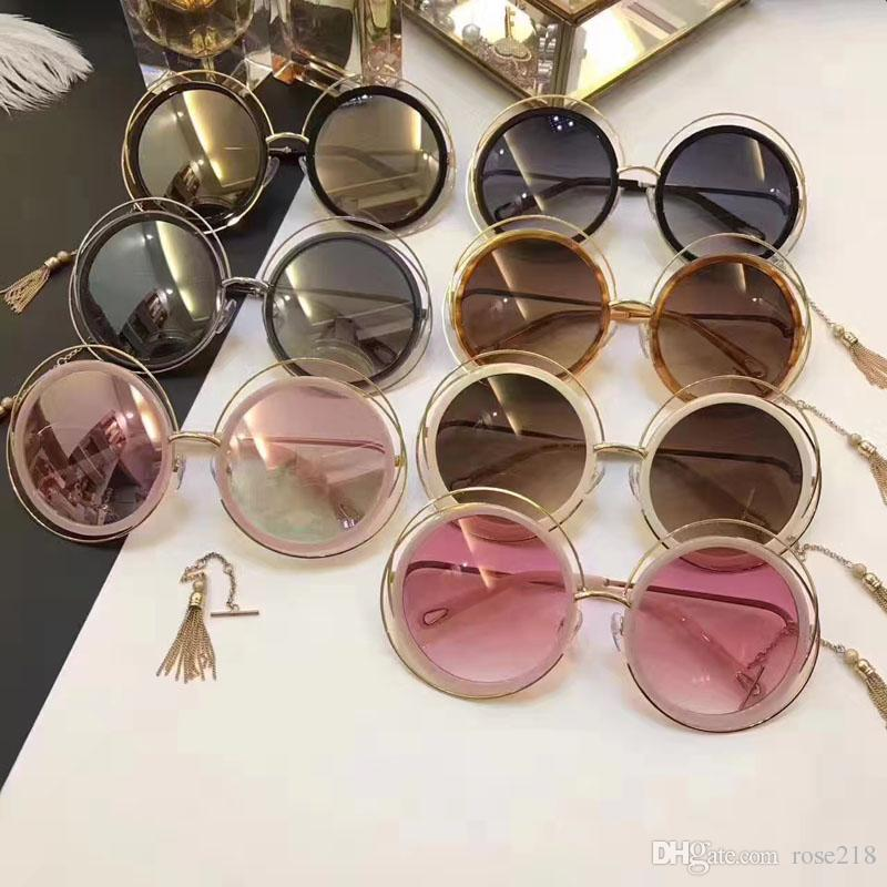 51072e6de New Fashion Women Sunglass Big Round Frame Metal Rim Mix Acetate Frame  CL120 Women Brand Designer Sunglass Top Quality France Designer Vuarnet  Sunglasses ...