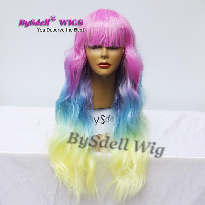 Mermaid Colorful Pastel Hair Wig Synthetic Pastel Rainbow Hair Colored Pink/ Blue/ Yellow Three Tone Ombre Hair Lace Front Wig