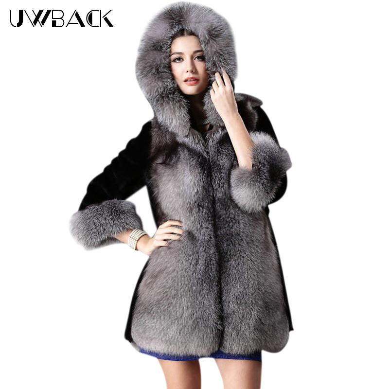 4e875c8aadd 2019 Uwback 2017 New Black Fake Fur Coat Women 3XL Big Size Faux Fox Fur  Hooded Long Jackets Mujer Plus Size Women Parkas TB1214 From Baiqian