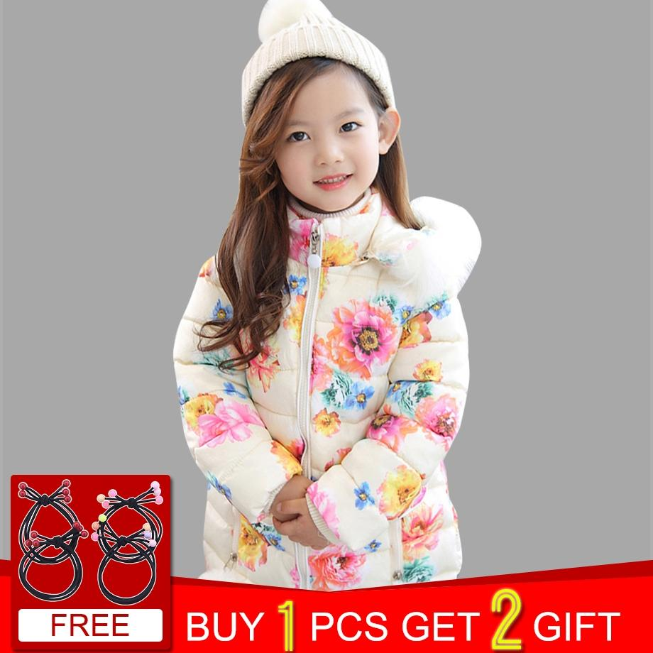 533267f31 Children's Winter Jackets For Girls Floral Fur Hooded Thick Girls ...