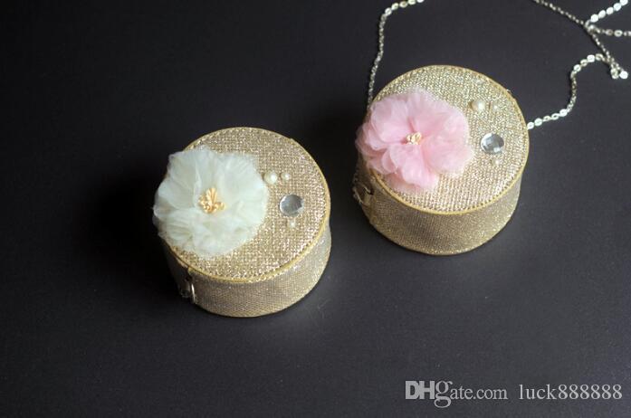 Children's fashion girls leisure chain small bag sweet flower princess Bao Hua Tong round Dinner Bag