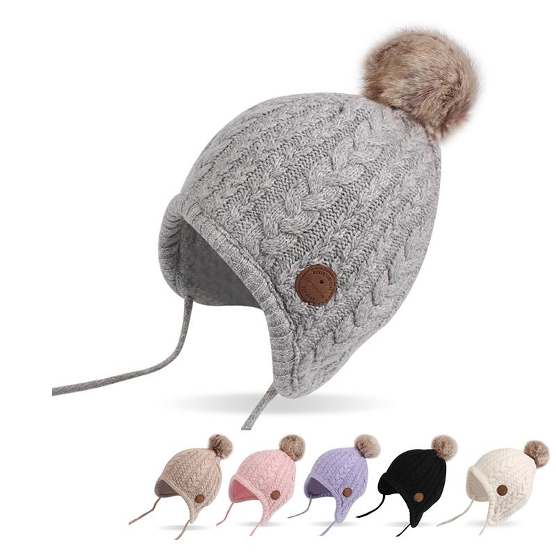 0a9c27e2 2019 Twist Newborn Baby Hat Velvet Ear Protection Toddler Hat Cotton Warm  Winter Beanie For Baby Girls Lace Up Infant Hat With Ball From Roohua, ...