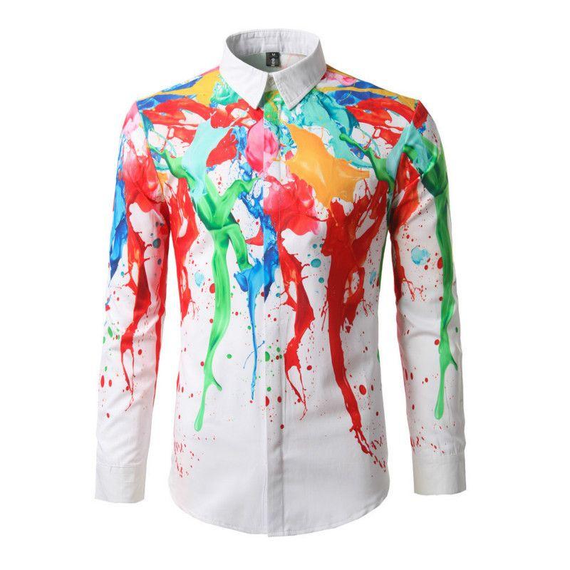 792eac62bb7 2019 New Men Casual Male Summer Shirt Brand Long Sleeve Slim Fit Colour Ink  Printing Man Shirt Mens Fashion Shirts 3D Printing From Cyril03