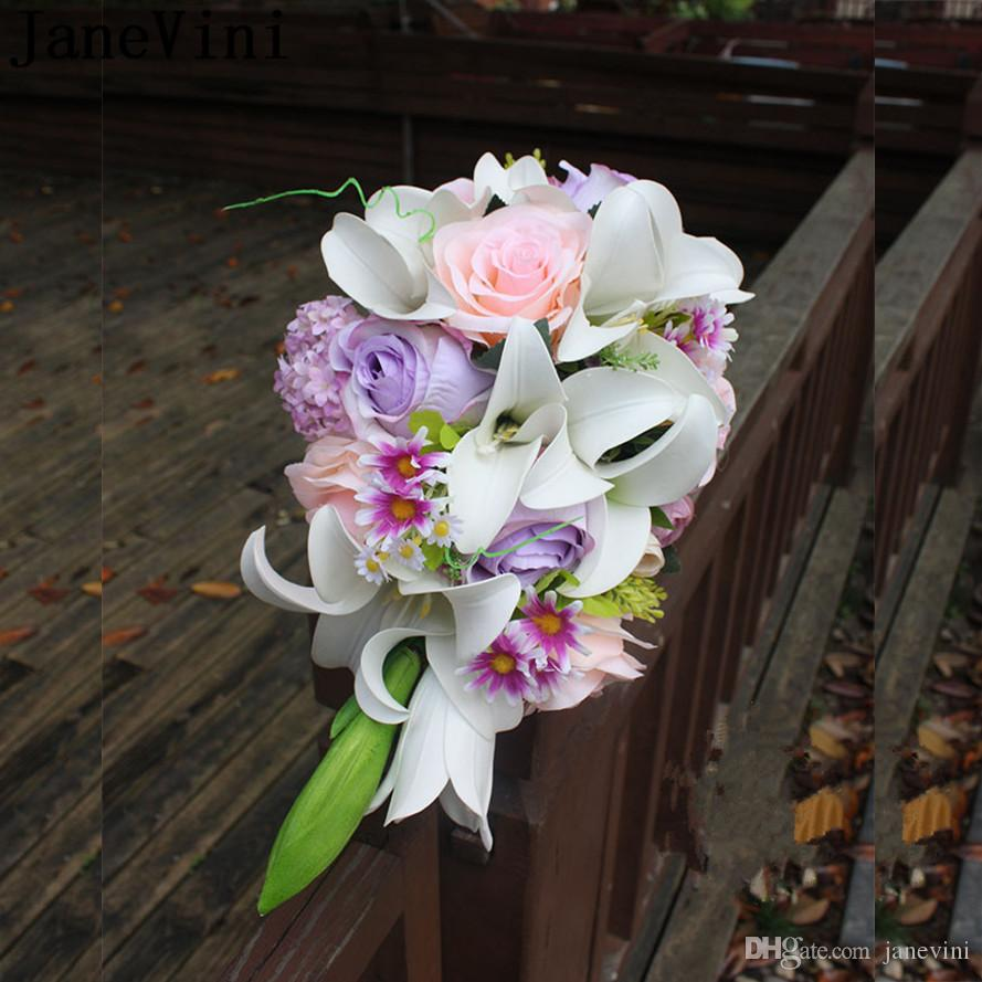 Janevini Waterfall Wedding Flowers Bridal Bouquet Artificial Lily