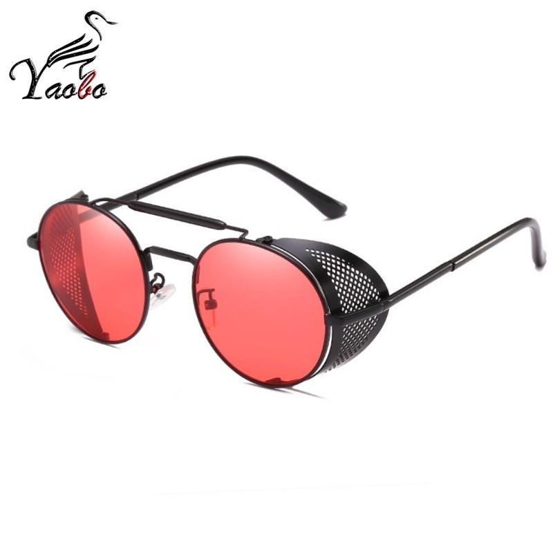aed829295a Compre Gafas De Sol Retro Steampunk Redondo Diseñador Redondo Metal Shields  Gafas De Sol Hombres Mujeres Uv400 Gafas De Sol Shades Protección Uv A  $22.9 Del ...